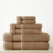 Modern Threads 6 Piece 100% Turkish Antimicrobial Cotton Towel Set, Mocha