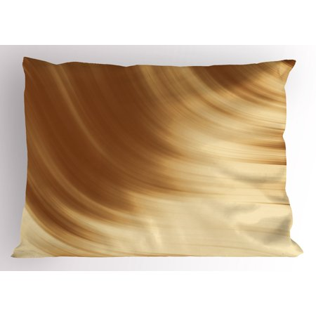 Tan Pillow Sham Curved Wave Like Conceptual Artistic Display Creamy Effect Soft Colored Subtle Image, Decorative Standard Size Printed Pillowcase, 26 X 20 Inches, Cream Tan, by Ambesonne