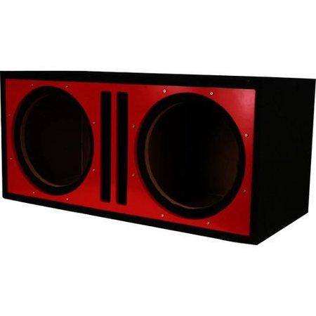 """Absolute Pdeb10rd (Red/black) Dual 10"""", 3/4"""" MDF Twin Port Subwoofer Enclosure w/ Red High Gloss Face Board"""