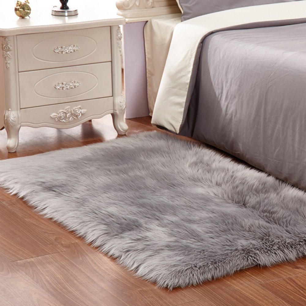FabricMCC Faux Sheepskin Area Rug Silky Shag Rug Fluffy Carpet Rugs Floor Area Rugs Decorative for Living Room Girls Bedrooms---Grey