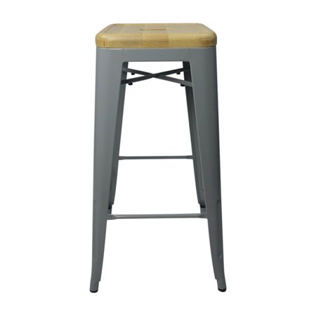 Tolix Style Bar Stool Silver - Natural Wooden Seat - Reproduction - image 3 de 3