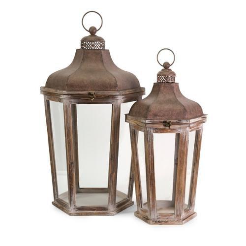 Set of 2 Noble Brown Hinged Lid Pillar Candle Holder Lanterns