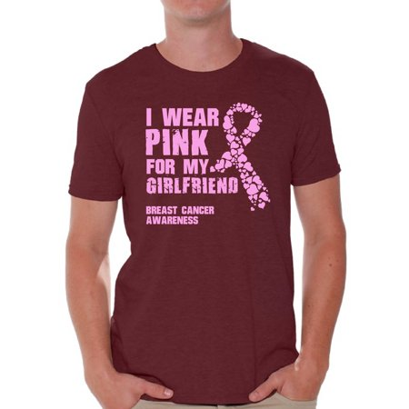 Awkward Styles Men's I Wear Pink for My Girlfriend Graphic T-shirt Tops Breast Cancer (Best Birthday Present For My Girlfriend)