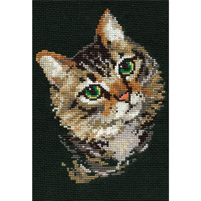 Grey Cat Counted Cross Stitch Kit, 8.25 x 11.75 in. - 10 Count