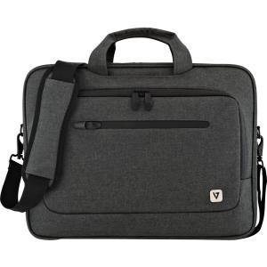 "V7 CTPX1-1N Carrying Case (Briefcase) for 15.6"" Notebook - Gray - Water Proof Zipper - Nylon - Shoulder Strap, Handle SLIM BRIEFCASE TROLLEY STRAP"
