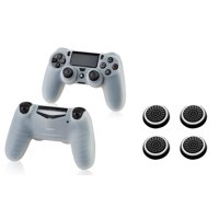 Insten Clear White Silicone Skin Case (+ 4x Black/White Analog Thumbstick Cap) for Sony PlayStation 4 (PS4) Controller