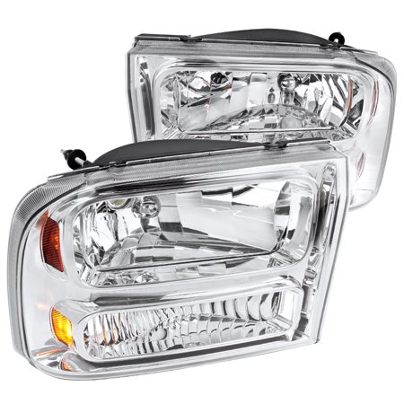 (Spec-D Tuning 1999-2004 Ford F250/F350 Super Duty Chrome 1Pc Style Headlights W/ Bumper Lamp 99 00 01 02 03 04 (Left + Right))
