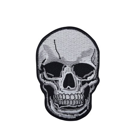 Skull Icon - Large Human Skull - Gray/Black -  Iron on Applique/Embroidered Patch