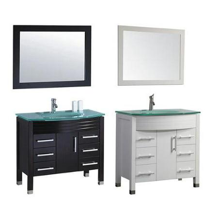 Mtd vanities figi 36 inch single sink bathroom vanity set with mirror and faucet espresso for 36 inch espresso bathroom vanity