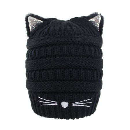 Ribbed Knit Beanie Cap Hat With Cat Ears](Baseball Cap With Cat Ears)
