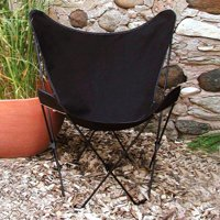 "35"" Retro Style Outdoor Patio Butterfly Chair with Black Cotton Duck Fabric Cover"