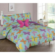 3pc Butterfly Aqua Blue Courage Dear Heart Bedding Set, Twin Comforter W/Fitted Sheet And Pillowcase