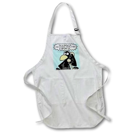 3dRose Crow Answering Machines, Medium Length Apron, 22 by 24-inch, With Pouch Pockets