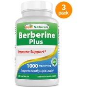 3 Pack - Best Naturals Berberine Plus 1000 mg/Serving 120 Capsules - Berberine for Healthy Blood Sugar