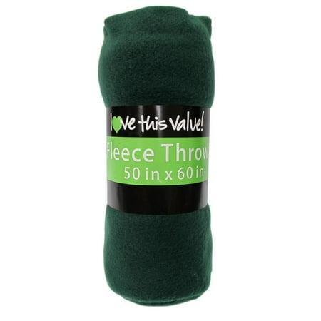 50 x 60 Soft and Cozy Green Fleece Throw Blanket-  Dark Green ()