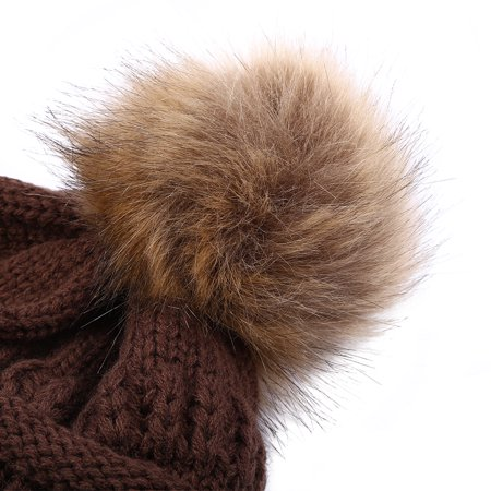 Lv. life 6 Colors Fashionable Knitted Cap Faux Raccoon Fur Pompom Winter Hat For Keeping Warm, Women Cap, Lady - Raccoon Skin Hat
