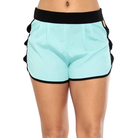 Sexy Cut Out Shorts W/ Contrast Waist and Trim Mint M