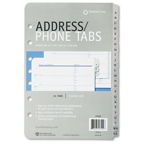 """Franklin Covey A-z Tabbed Address/phone Pages - 5.50"""" X 8.50"""" - White, Black (27222)"""
