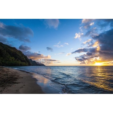 Sunset on the Napali Coast, Kauai, Hawaii, United States of America, Pacific Beach Ocean Coastal Landscape Photography Print Wall Art By Michael (Best Beaches In Kauai)