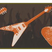 Wallpaper Border - Orange White Guitars People Dancing Black Brown Wall Border for Teens, Roll 15 ft X 9 in