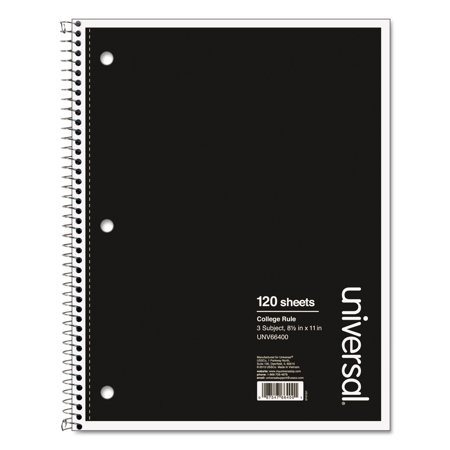 Universal 3 Sub  Wirebound Notebook  11 X 8 1 2  College Rule  120 Sheets  Black Cover