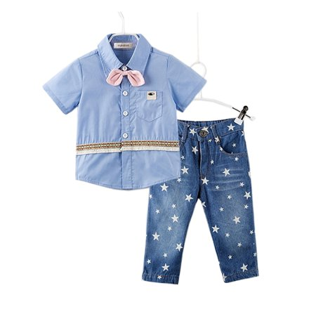 StylesILove Handsome Kid Boy Blue Shirt with 3D Pink Bowtie and Star Print Jeans Set (3T)