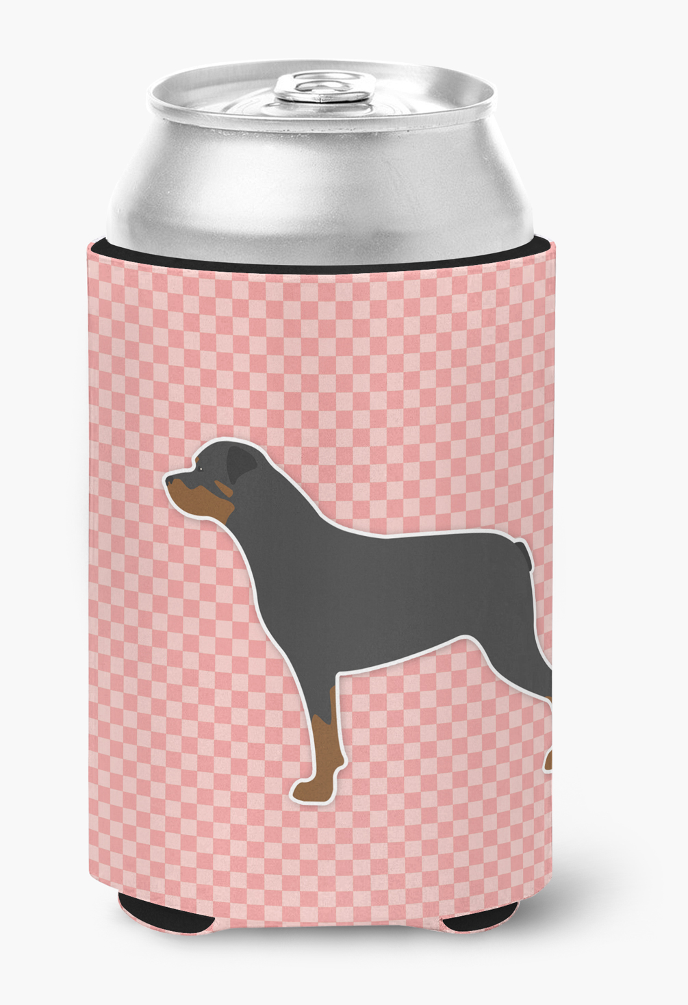 Rottweiler Checkerboard Pink Can or Bottle Hugger by Caroline's Treasures