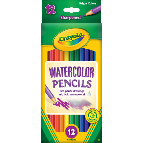 Crayola Watercolor Woodcase Pencils, 12 Assorted Colors