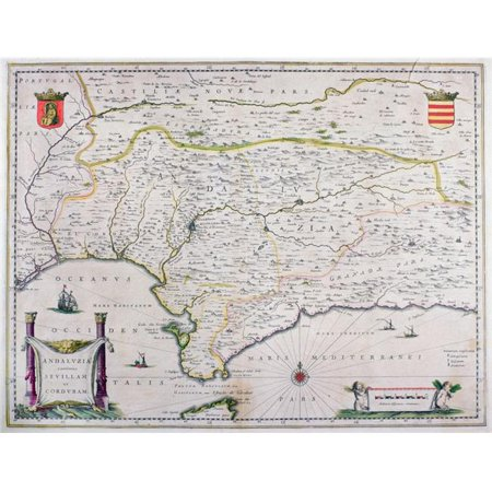 Posterazzi DPI1860691LARGE Map of Andalusia Spain by Willem & or Joannes Blaeu Published Amsterdam 1640 Poster Print, 34 x 26 (Maps Of Spain)