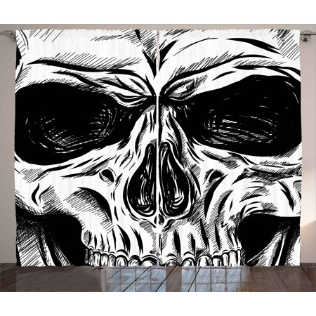Halloween Curtains 2 Panels Set, Gothic Dead Skull Face Close Up Sketch Evil Anatomy Skeleton Illustration, Window Drapes for Living Room Bedroom, 108W X 84L Inches, Dark Grey White, by - Halloween 4 Panel