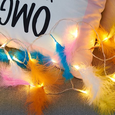 Romantic Feather String Light, 3.9FT 10LEDs Decorative Fairy Lamp, Battery Operated - image 5 of 7