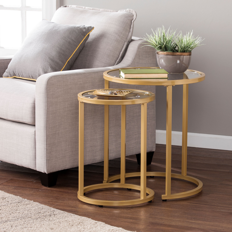 Southern Enterprises Evee Glam Nesting Side Table 2pc Set, Gold