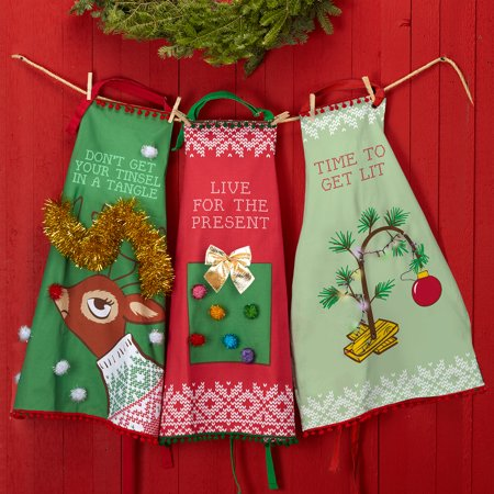 Two's Company Ugly Sweater Apron and Recipe Dish Towel Set - Live for the Present