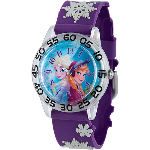 Frozen Anna, Elsa Girls' Plastic Watch, Purple 3D Plastic Strap