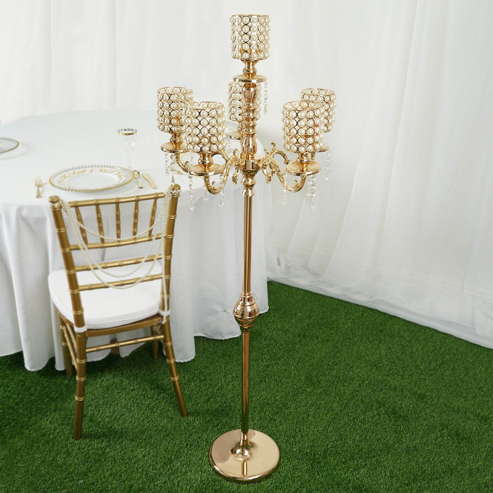 """BalsaCircle Set of 1 56"""" or 36"""" Gold tall Candelabra Candle Holder Centerpiece Crystal Chains Wedding Party Decorations Supplies"""