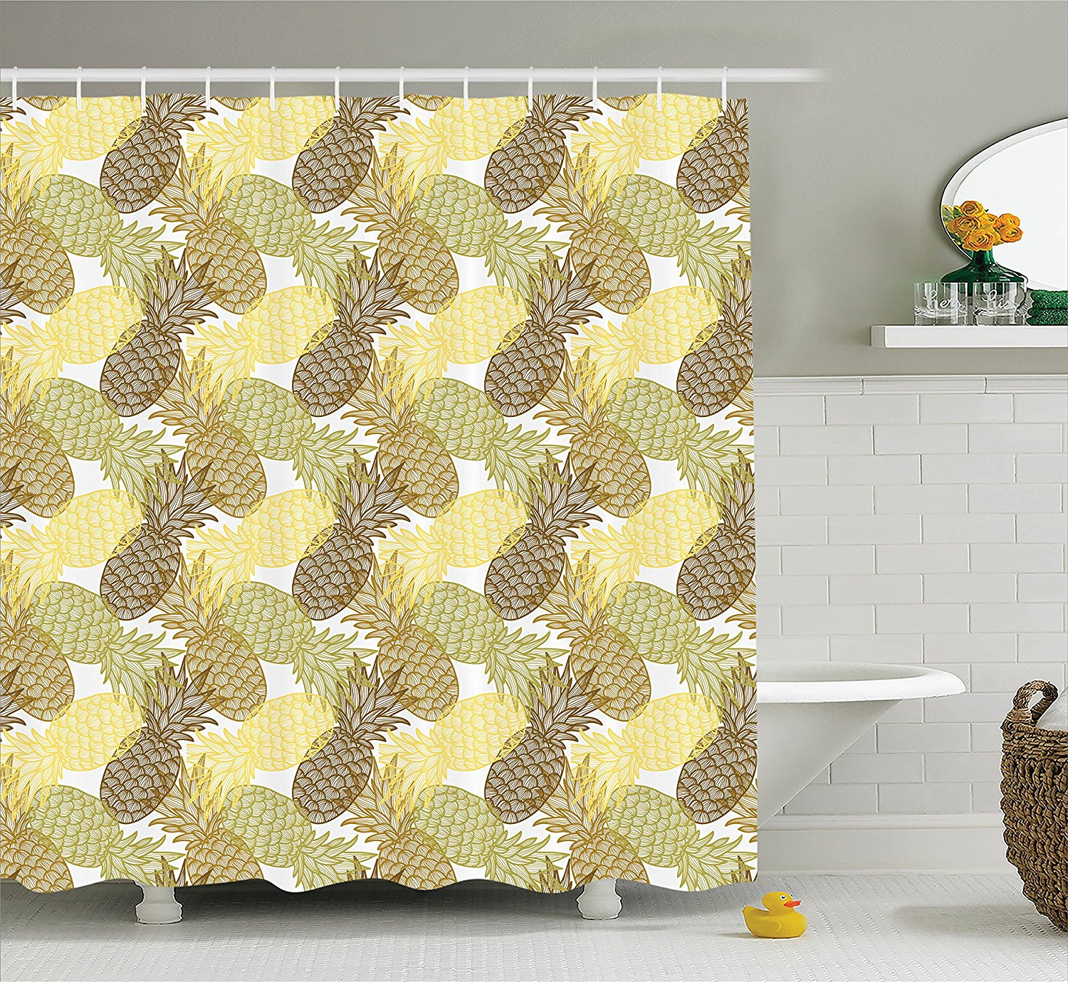 Pineapple Decor Shower Curtain Set By , Summer Themed