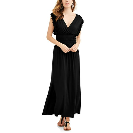 Women's Smock Waist Maxi Dress with Flutter Sleeves