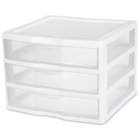 Sterilite, Wide 3 Drawer Unit, White ()