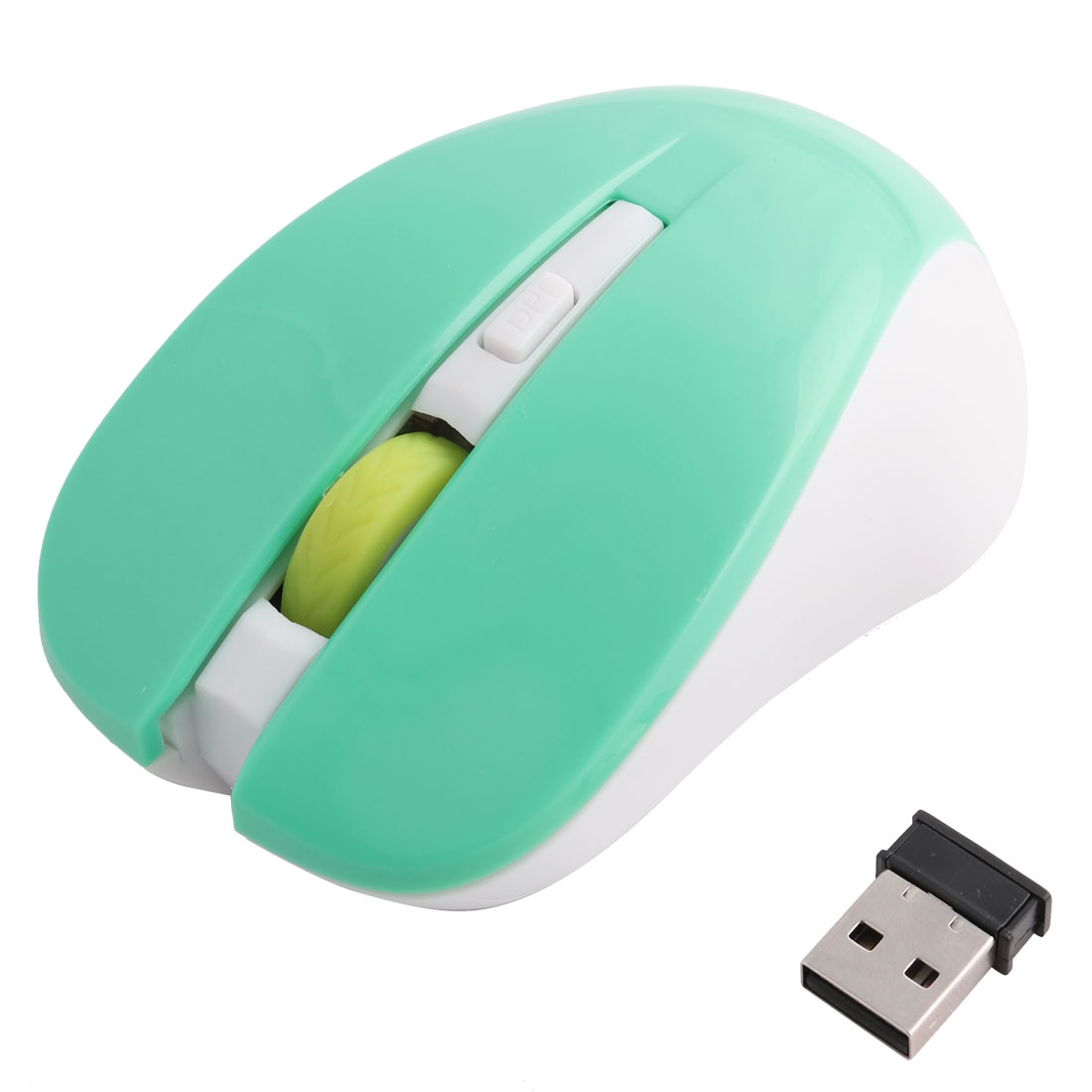Unique Bargains Computer PC Wireless Red LED Portable Mobile Mouse Optical Mice Green White