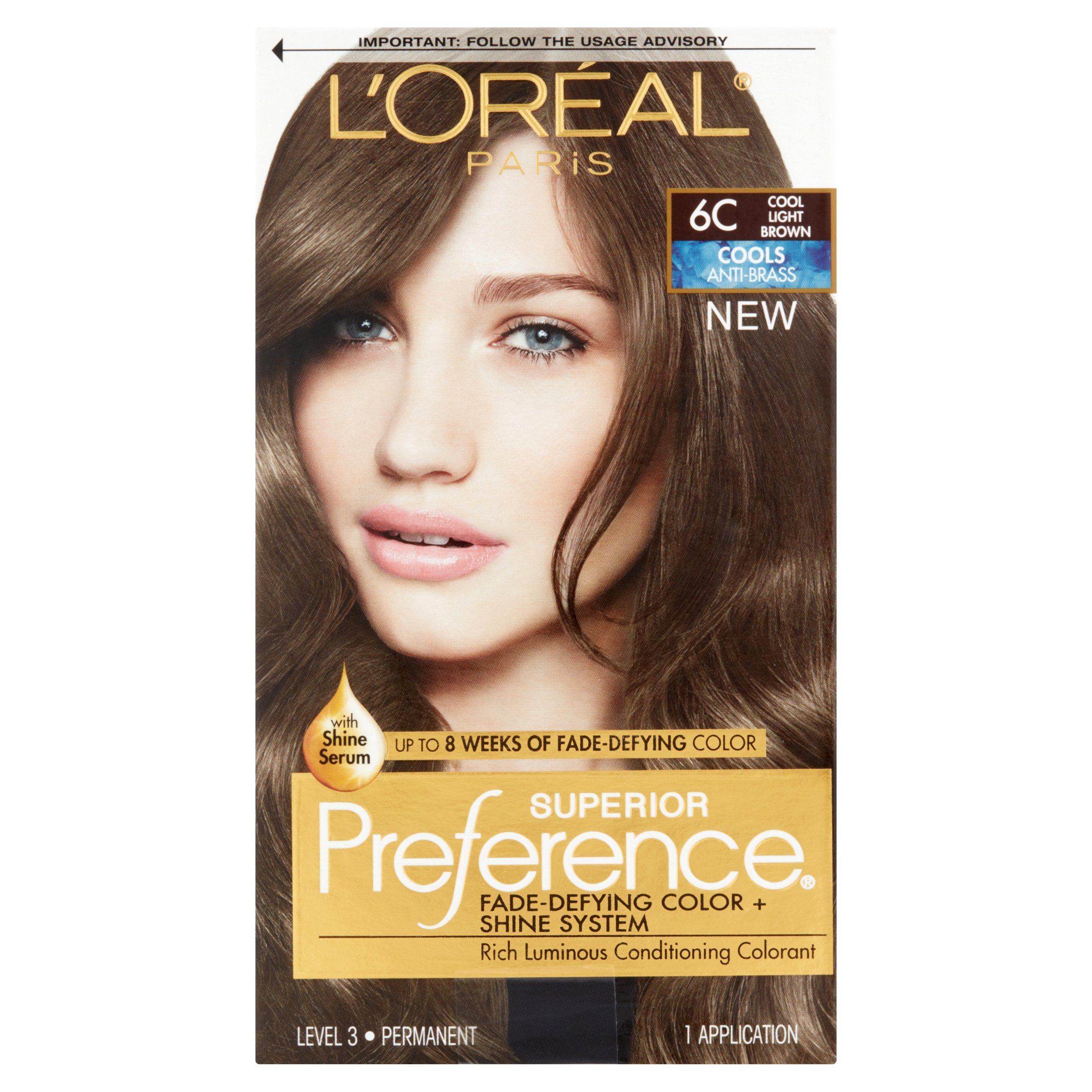 L'Oreal Paris Superior Preference Cools Anti-Brass Hair Color Kit, 6C Cool Light Brown