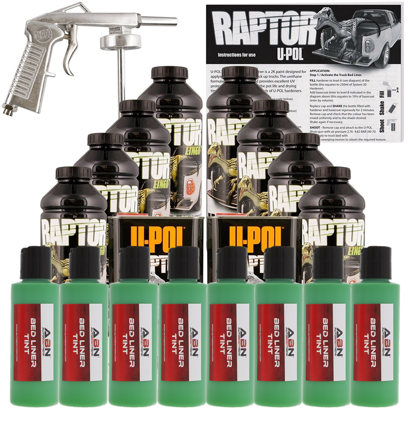 U-POL Raptor Emerald Green BedLiner Kit w/ Spray Gun, 8L Upol