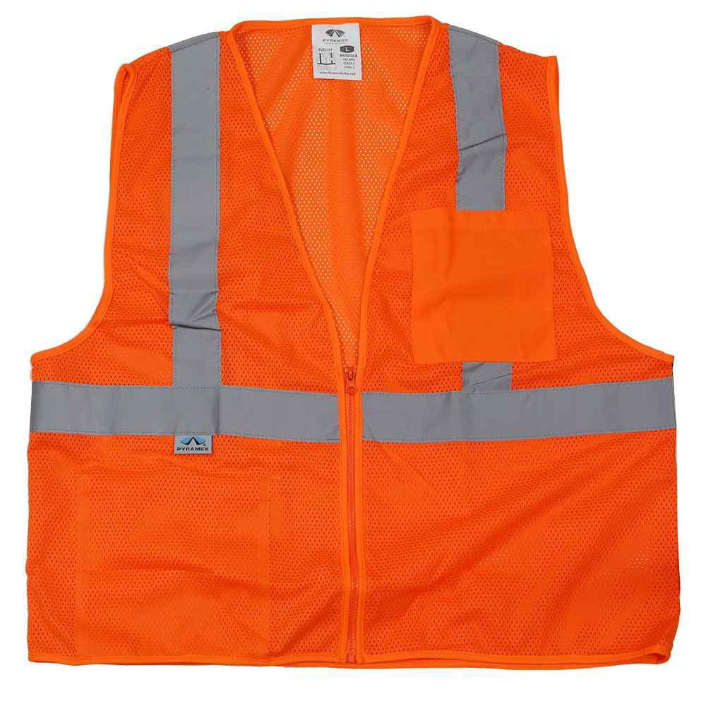 Orange Reflective Safety Vest w/ Zipper - Class 2 Hi Vis Vest - L