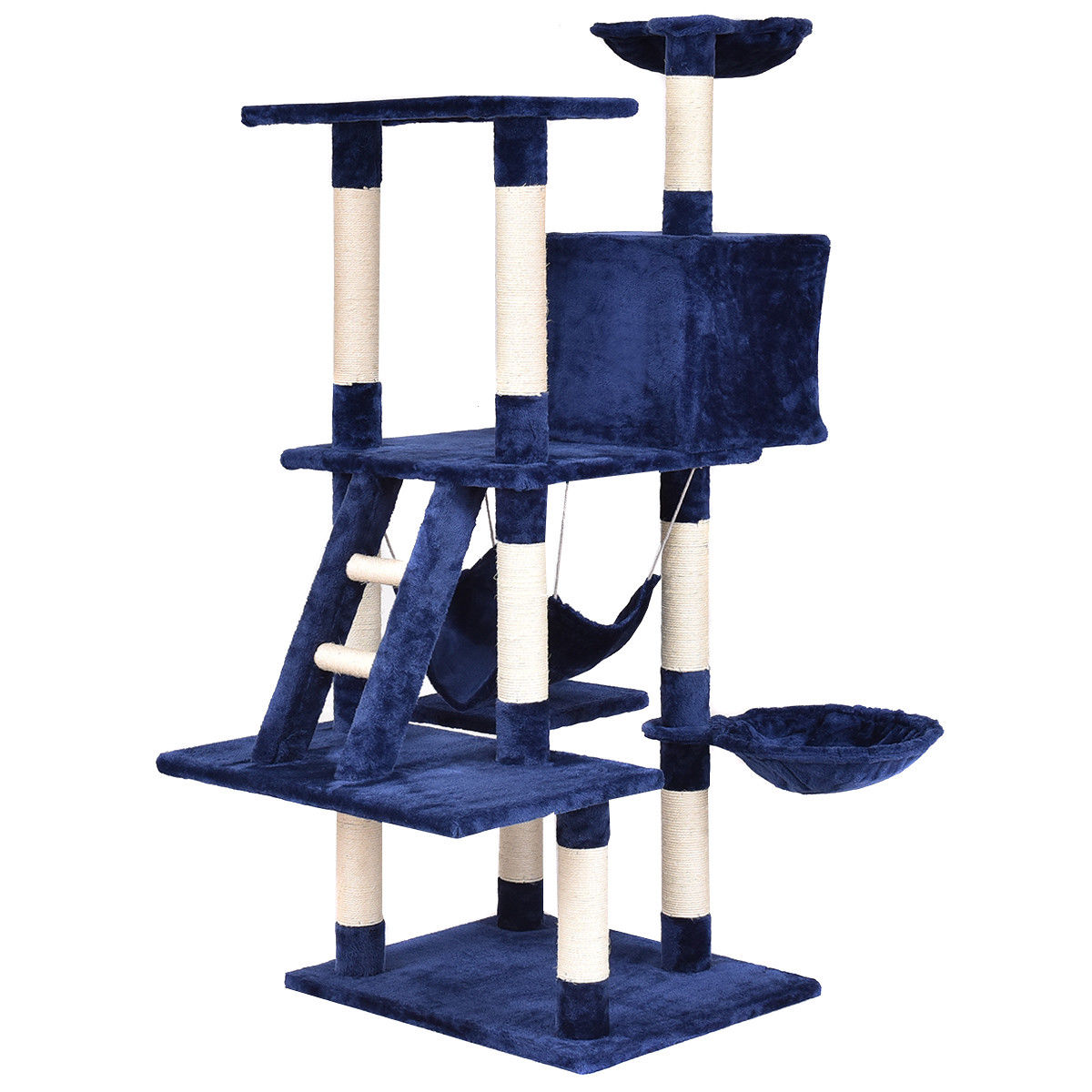 Gymax 57'' Cat Tree Kitten Pet Play House Condo Scratching Posts w Ladder Hammock
