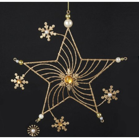 """Kurt S. Adler 9"""" Glitter Star with Faux Gem and Pearl Snowflake Flowers Christmas Ornament - Gold"""