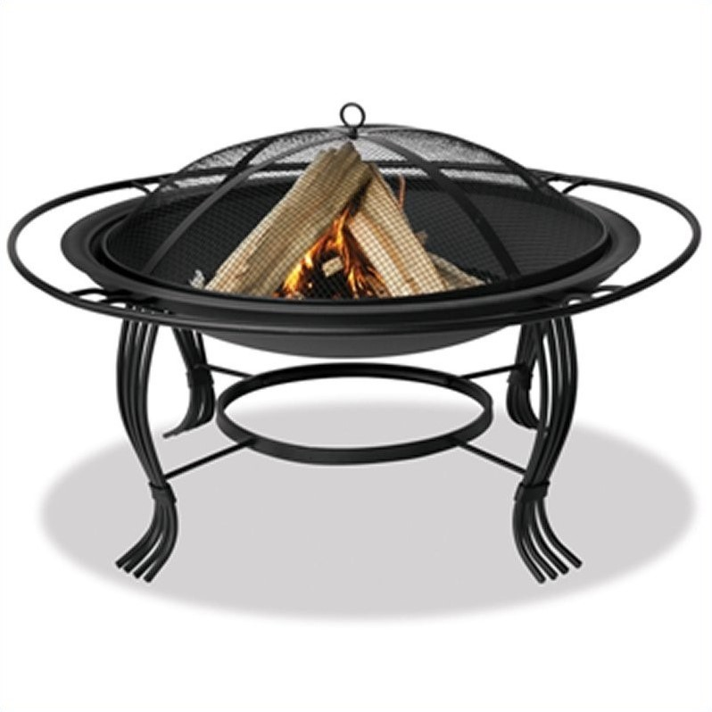 "Pemberly Row 34.6"" Firepit with Outer Ring in Black by Pemberly Row"