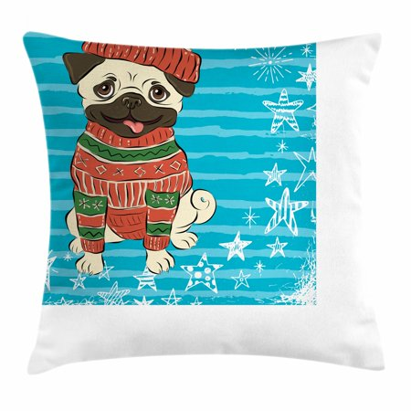 Pug Throw Pillow Cushion Cover, Happy Dog with Winter Clothes Vibrant Stripped Background with White Stars Moon, Decorative Square Accent Pillow Case, 18 X 18 Inches, Emerald Blue Red, by Ambesonne