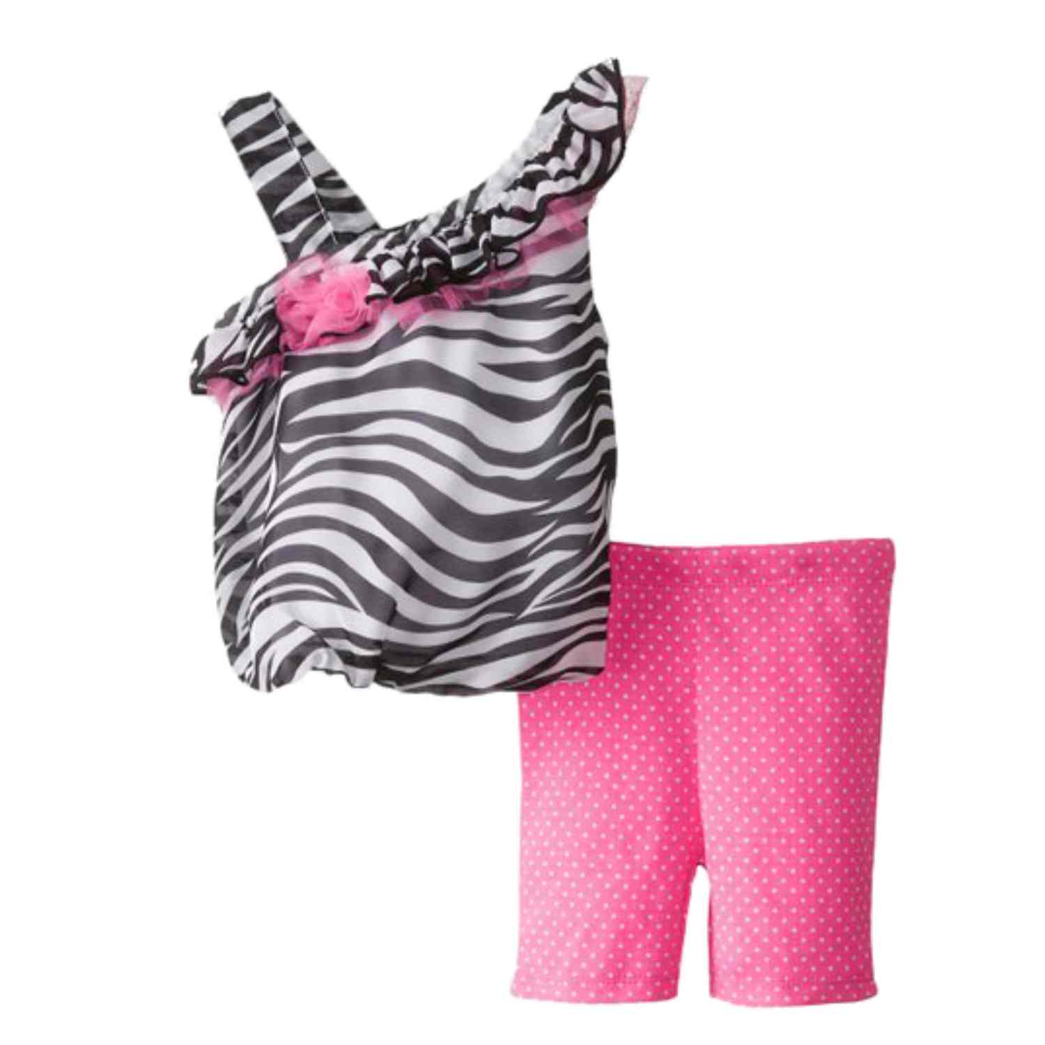 Baby Glam Infant Girls Zebra Print Bubble Top Pink Leggings Outfit 2 PC Set
