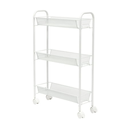 Honey Can Do Slim Rolling Wire Cart with 3 Baskets, White