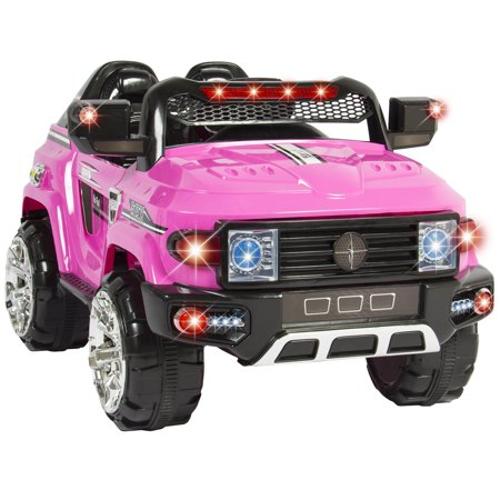 12V Mp3 Kids Ride On Truck Car R C Remote Control  Led Lights Aux And Music Pink