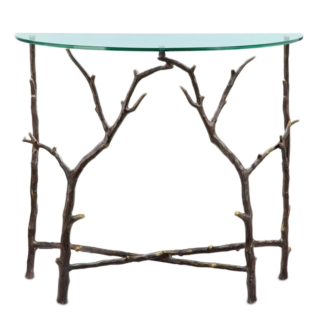 Cast Aluminum Tree Branch Glass Top Entry Table